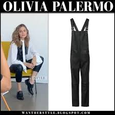 olivia palermo on the set in black leather overalls maison de reefur and white shirt style
