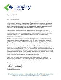 Thank You Letter To School From Parents Principal Staff