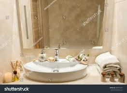 Bathroom Interior Composition Spa Treatment Towels Stock Photo