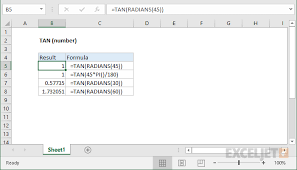 Tan Chart Radians How To Use The Excel Tan Function Exceljet