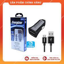 Mã ELDTRJUL giảm 5% đơn 150K] Bộ Sạc Ô Tô Energizer 3.4A 2 Cổng USB - Kèm 1  Cáp Micro USB DCA2CUMC3 (Black) - Adapter sạc - Củ sạc thường