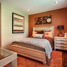 Orange Accent Wall Energizes Transitional Bedroom