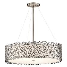 kichler 43347clp silver c modern classic pewter finish 22 nbsp wide drum ceiling light pendant loading zoom