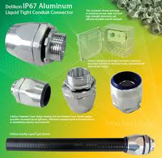 delikon ip67 aluminum liquid tight conduit connector for industry control wiring