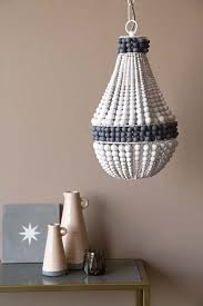 charcoal white wooden beaded chandelier