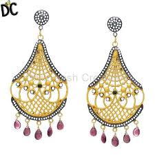 latest designer jewelry 22k yellow gold plated cz and pink tourmaline designer chandelier earrings statement fashion