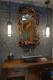 inspired 80 inch bathroom vanity in powder room rustic with wet bar sink next to wall mount faucet alongside best color for powder room and cabin