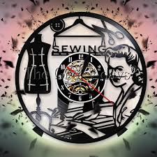 sewing machine stitch by stitch vinyl record wall clock quilting sewing room tailor wall clock home decor watch quilter gift small wall clocks kitchen