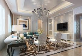 crystal chandelier and ceiling recessed lights over living room white and teal sofa also square