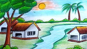 How to draw a scenery \ Beautiful landscape \ Summer season drawing \ step  by step   Summer season drawing, Easy scenery drawing, Step by step drawing