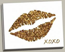 glitter wall art lips canvas diy
