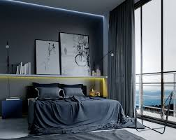 fascinating modern masculine bedroom decoration with dark bedding sets also grey window curtain and wall paint plus iron lounge chairs