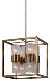 marinot 8 light cube antique brass pendant lighting fixture