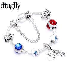 DINGLLY Red Blue <b>Charm Bracelet</b> For <b>Men Women</b> Girl Boys ...