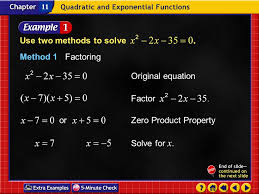 example 4 1a use two methods to solve method 1factoring original equation factor solve for