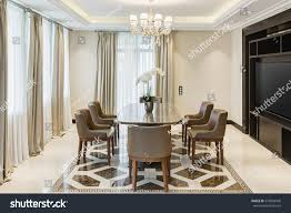 dining room crystal lighting. Front View Of Stylish And Light Dining Room With Big Windows Crystal Chandelier In Center Lighting