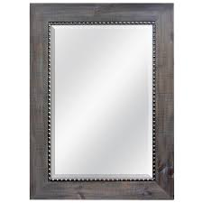 allen roth gray with pewter beveled wall mirror
