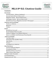cited sources mla mla 8th ed handout pdf how to cite sources mvcc libraries