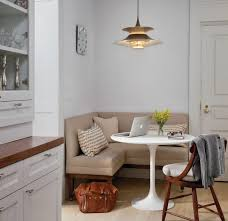 curved bench for round dining table in consort with gray house idea