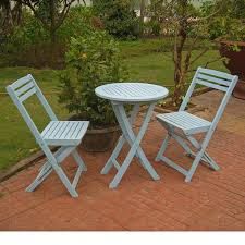 3 piece folding patio bistro set sky blue color hardwood construction weather water resistant outdoor garden furniture uv protection table 2 chairs
