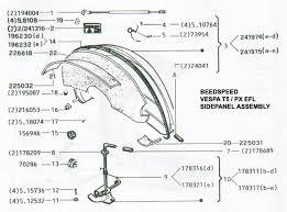 vespa part diagrams side panel p125 x toolbox spare wheel · steering lock efl and bearings spare wheel · toolbox top tray t5 · wiring loom p2