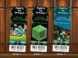 Birthday Invitations Ticket Invitation Templates Printable Minecraft ...