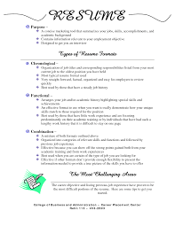 Resume Template Types Of Resume Formats Free Career Resume Template