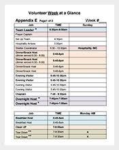 volunteer schedule template schedule template 376 free sample example format download