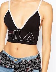 fila yellow top. image 3 of fila cropped bralet top with front logo yellow