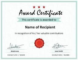 Printable Award Certificate Recognition Awards Free Teacher