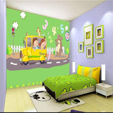 custom size 3d photo wallpaper living <b>room</b> kids mural <b>cartoon bus</b> ...