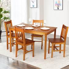 Light Brown Ikayaa Modern 5pcs Wood Kitchen Dining Table Chairs