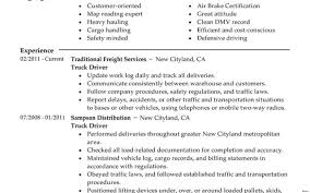 Resume Samples For Truck Drivers Free For Download Truck Driver