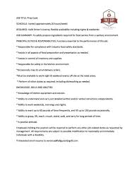 Cook Job Description Template Resume Line Sample Country Club