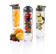 printed water bottle with fruit infuser green