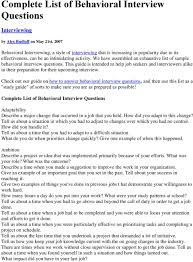 Examples Of Behavioral Interview Questions Complete List Of Behavioral Interview Questions Pdf