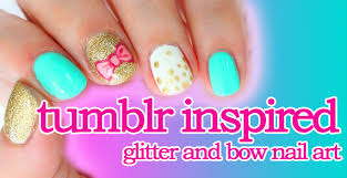 Tumblr Inspired Bow and Glitter Nail Art - YouTube