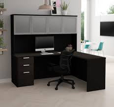 modern l shaped office desk. Modern L-Shaped Desk \u0026 Hutch With Frosted Glass Doors In Deep Gray And Black L Shaped Office E