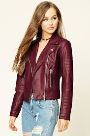 this sweet burdy leather jacket from forever21 33