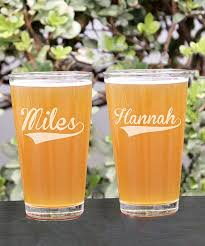 love this sport print personalized pint glass set of two