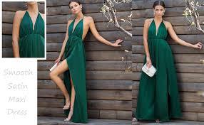 Shein Womens Sexy Satin Deep V Neck Backless Maxi Party Evening Dress