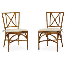 Amazon com bimini jim dining chair pair with cushion natural bamboo patio dining chairs patio lawn garden