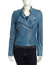 MICHAEL Michael Kors Asymmetric Quilted Leather Moto Jacket, Cool Blue &  Adamdwight.com