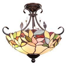 dale tiffany crystal leaf 2 light antique bronze semi flush mount light