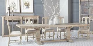 gray dining table. Salvaged Wood Gray Rectangle Dining Table With Trestle Base