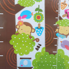 Monkey Growth Chart Wall Us 4 07 Hot Owl Monkey Butterfly Flower Tree Growth Chart Wall Art Home Decorations Animal Stickers Cartoon Children Wall Decals In Wall Stickers