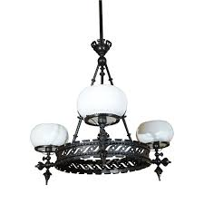 victorian wrought iron gas chandelier for