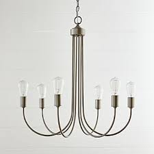 Image Brass Oakton Brushed Nickel Chandelier Crate And Barrel Pendant Lighting And Chandeliers Crate And Barrel