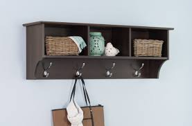 Large Wall Mounted Coat Rack shelf Wall Mounted Coat Rack In Espresso Color With Three Shelves 62