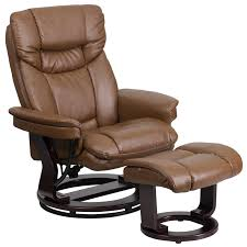 contemporary palimino leather recliner and ottoman with swiveling mahogany wood base bt 7821 palimino gg